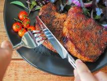 Piec na grillu wieprzowina kotlecika stek Fotografia Stock