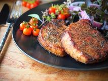 Piec na grillu wieprzowina kotlecika stek Obraz Stock