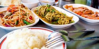 Piec na grillu wieprzowina melonowa Tajlandzka sałatka także znać jako Som Tu Zdjęcie Stock