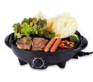 Piec na grillu wieprzowina stek, kiełbasy odizolowywający na białym tle i Fotografia Stock