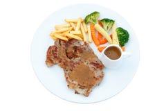 Piec na grillu wieprzowina stek z warzywem na naczyniu, BBQ stek, Zdrowy Fo Obraz Stock