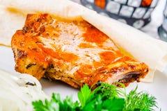Piec na grillu wieprzowiny loin na kości Obrazy Royalty Free