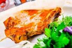Piec na grillu wieprzowiny loin na kości Fotografia Stock