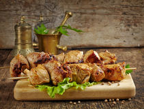 Piec na grillu wieprzowiny mięsa kebab Fotografia Royalty Free