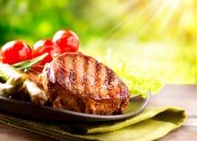 Piec na grillu wołowina stek Zdjęcie Stock
