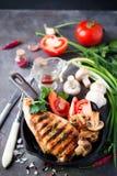 Piec na grillu zdrowe kurczak piersi fotografia royalty free