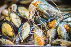 Piec na grillu zieleni mussels na węgiel drzewny kuchence przy nocy normą i garnele fotografia stock