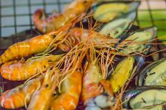 Piec na grillu zieleni mussels na węgiel drzewny kuchence przy nocy normą i garnele obrazy royalty free