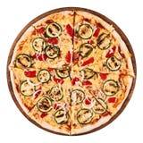 Piec na grillu zucchini i czerwonego pieprzu pizza Obrazy Royalty Free