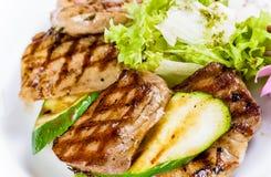 Piec na grillu zucchini i mięso Zdjęcie Stock
