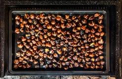 Piec piec na grillu kasztany na grillu z płomieniami, ogieniem i cha, Zdjęcia Stock