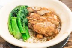 Piec ryż z kurczakiem w claypot fotografia royalty free