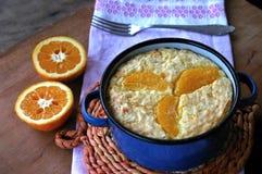 Piec ryżowy pudding z pomarańcze Zdjęcie Royalty Free