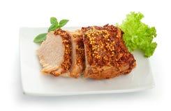 Piec wieprzowina z francuską musztardą zdjęcie stock