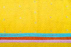Piece of an African embroidered fabric (cotton) Stock Photos