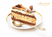 Piece of almond cake on dessert plate Royalty Free Stock Image