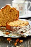 Piece of almond cake. Royalty Free Stock Images