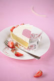 Piece of Almond Vanilla Mousse Cake Stock Images