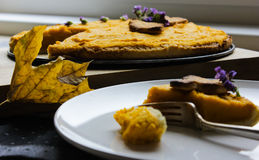 A piece of the American pie with pumpkin. Thanksgiving Day. autumn cake Royalty Free Stock Photos