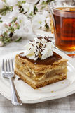 Piece of apple cake with whipped cream Royalty Free Stock Photos