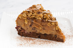 Piece of apple and caramel cake on plate, closeup. Horizontal Stock Images