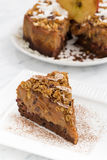 Piece of apple and caramel cake, top view Royalty Free Stock Photos