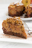 Piece of apple and caramel cake on white plate, closeup. Vertical Royalty Free Stock Photography