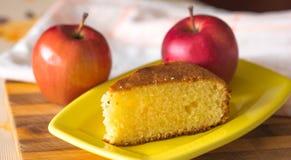Piece of apple pie on ceramic plate Stock Photo