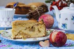 Piece of apple pie with cinnamon Royalty Free Stock Photos