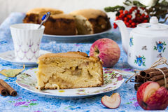 Piece of apple pie with cinnamon Royalty Free Stock Images