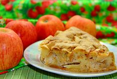 Piece of apple pie Stock Photos