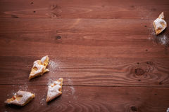 Piece of apple pie on the table Royalty Free Stock Images
