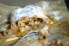 Piece of apple strudel Stock Photos