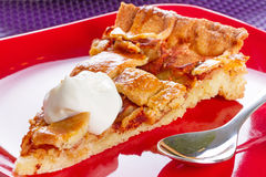 Piece of apple tart close up Stock Images