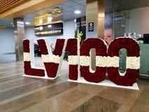 100th birthday celebration of Latvia. A piece of art of flowers made for Latvia 100 year celebration stock photo