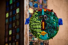 Piece of art as seen in Canyon Road Street in Santa Fe stock photography