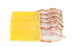 Piece of bacon and cheese Royalty Free Stock Images
