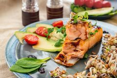 A piece of baked red fish with a side dish of sprouts and avocado salad. Macrobiotic food concept. Healthy food.  stock images