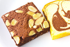 Piece of banana cake and nut Royalty Free Stock Photo