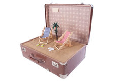 Piece of the beach with a palm tree in an old suitcase Stock Photography