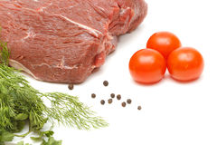 Piece of beef and vegetables on white Royalty Free Stock Images