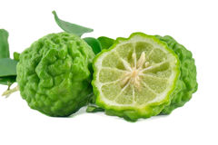 Piece bergamot on white background. Piece kaffir lime isolated Stock Images