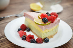 Piece of berry cheesecake Stock Image