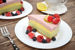 Piece of berry cheesecake Royalty Free Stock Photography