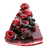 Piece of Berry Jelly Cake Isolated on White Background Royalty Free Stock Photos