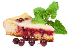 A piece of berry pie with mint leaves Stock Photos
