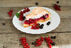 Piece of berry pie, red and black currants Stock Images