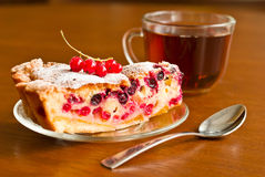 Piece of berry pie on saucer Royalty Free Stock Image