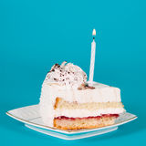 Piece of birthday cake with a candle Stock Photography