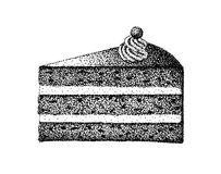 A piece of birthday cake illustration old lithography style hand drawn Stock Photo